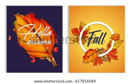 hello autumn fall typographic