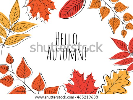 Hello autumn! Hand drawn different colored autumn leaves. Sketch, design elements. Vector illustration.