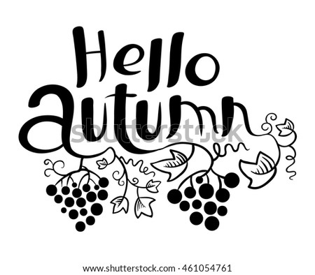 Hello Autumn lettering  black and white composition. Inspirational quote with hand-drawn artistic letters. Vector illustration with grape vine and leaves. Design element for posters, t-shirts, cards