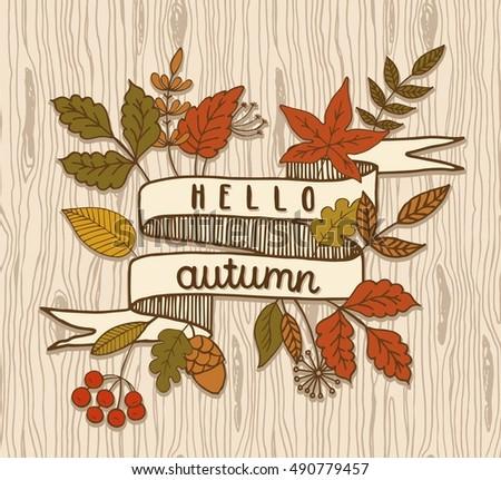 Hello Autumn, Ribbon Banner, Vector Illustration