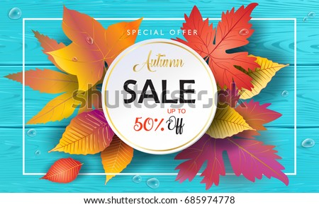 Hello Autumn Sales vector Fall leaves season sale banner. Sale Thanksgiving Holiday decoration. Maple tree leaves, lettering Blue Wood texture. Autumn Sale Orange leaf. Autumn leaf on wooden landscape