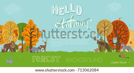 hello autumn  vector forest