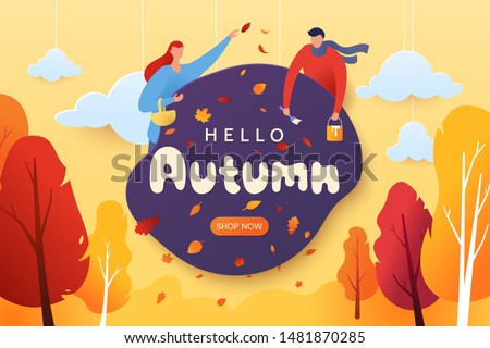 Hello autumn vector illustration. Decorative autumn greeting card with characters, falling leaves, and red-yellow trees. Paper cut style. Fall season. Applicable for web banner, poster. Eps 10.