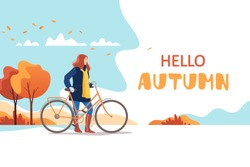Hello autumn. Young female walking with bicycle in a park. Healthy lifestyle and recreation leisure activity. Vector illustration.