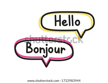 Hello bonjour. Handwritten lettering illustration. Black vector text in pink and yellow neon speech bubbles. Simple outline style Photo stock ©