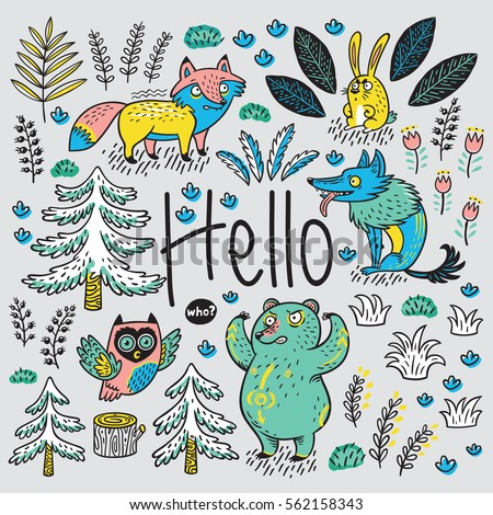 hello card colorful hand drawn
