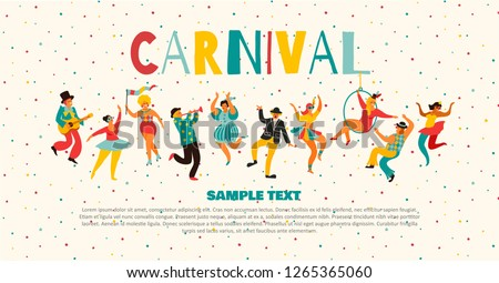 Hello Carnival Vector illustration of funny dancing men and women in bright costumes. Design element for carnival concept and other users