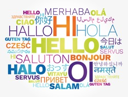 Hello concept word cloud in different languages of the world