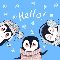 Hello conceptual banner. Three little penguin saying greetings. Penguin animals in sweater, hat and headphones. Endless texture with polar winter birds. Wallpaper design with cartoon character penguin