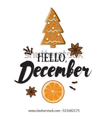 Hello, December. Holiday greeting card with ginger biscuit, orange slice, spices and calligraphyelements. Handwritten modern lettering with cartoons background.