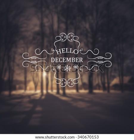 Hello December. Winter background. Greeting Card. Typographic design