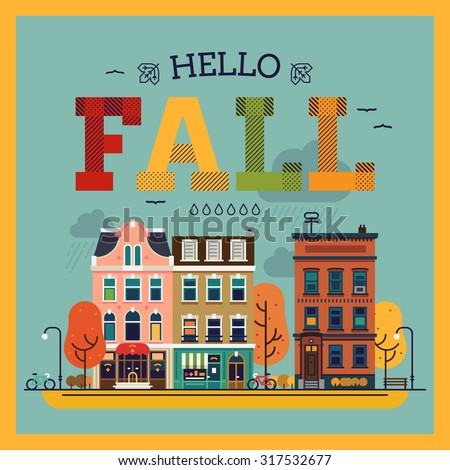 Hello Fall Colorful Vector Background With Fall Season City Landscape. Fall  G..