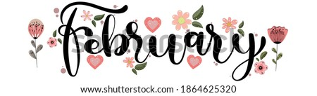 Hello FEBRUARY. vector February Month  with flowers, hearts and leaves.   February decoration. February month illustration Stock photo ©