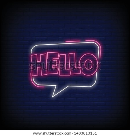 Hello for poster in neon style. Hello neon signs. greeting card, invitation card, light banner, posters, flyer