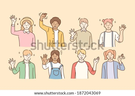Hello, greeting, mixed race friendship concept. Group of smiling happy children of various races waving their hands to camera and feeling excited vector illustration