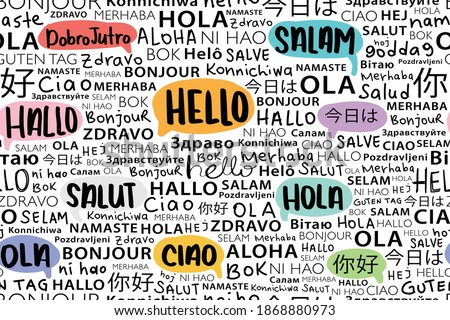 Hello in different languages seamless pattern repeating texture. Background design for school, hotels, fashion graphics, fabrics, wallpapers, wall arts etc
