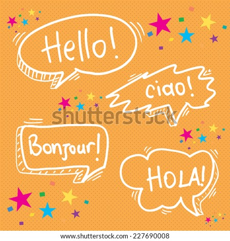 hello in four languages