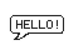 Hello in speech bubble 8-bit pixel art on white background