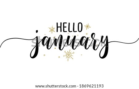Hello January - Inspirational New Year beautiful handwritten quote, gift tag, lettering message. Hand drawn winter, January phrase. Handwritten modern brush calligraphy for 2021. Mug subtitles.