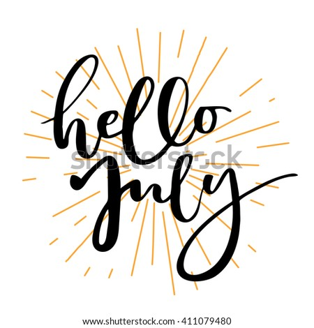 hello july lettering print