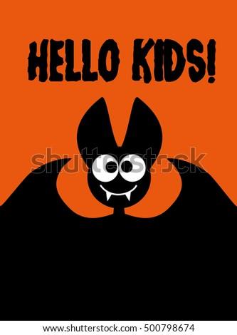 hello kids  bat on orange