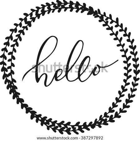 hello lettering in hand drawn