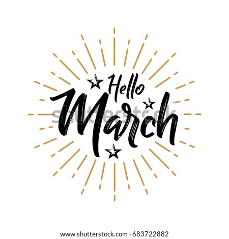 Hello March - Firework - Vector for greeting, new month