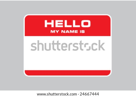 hello my name is, name card vector