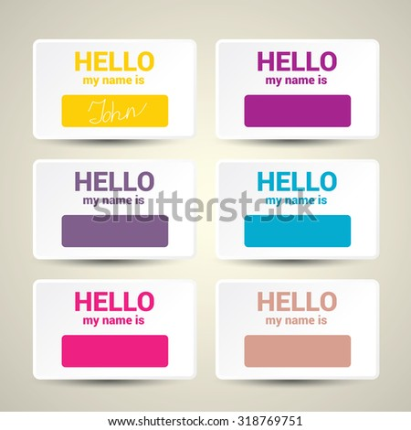 Hello My Name Is... Name Tag Set. Vector Business card set #318769751