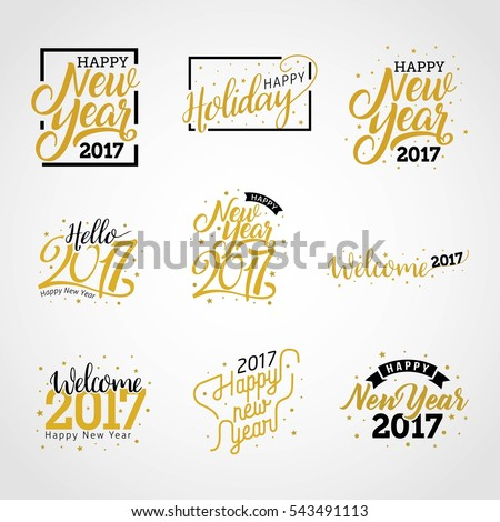 Hello New Year 2017, Happy New Year 2017 golden typography on white background. Greeting card design with hand lettering inscription for winter holidays. Vector illustration
