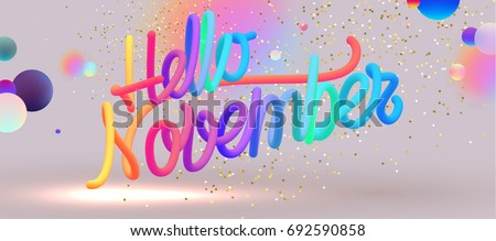Hello November lettering | Autumn festive placard cover template