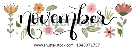 HELLO NOVEMBER. November month vector hand lettering with flowers and leaves. Floral decoration text. Decoration letters, Illustration November.  Foto stock ©
