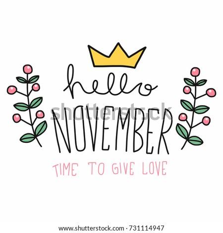 Hello November word and flower wreath cartoon vector illustration doodle style