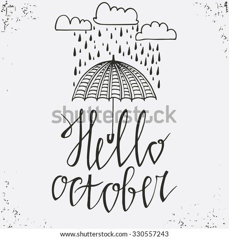 hello october  hand drawn...