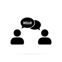 Hello. People talking icon. Dialog icon. Conversation, communication user with speech bubbles. Chat, speak sign, talk icon.