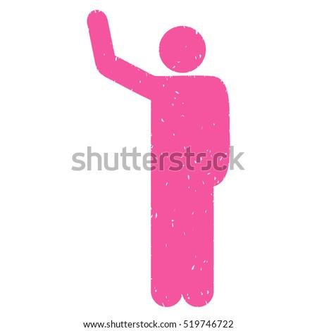 hello pose grainy textured pink