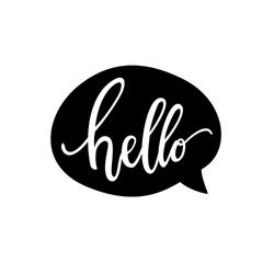 Hello quote message bubble. Calligraphic simple logo / introduction style. Vector illustration. Simple black & white sign / lettering.