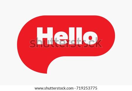 hello quote message red bubble