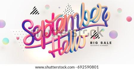 Hello September lettering | Autumn festive placard cover template