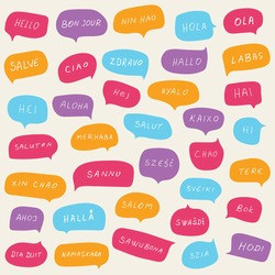 Hello speech bubbles on various languages