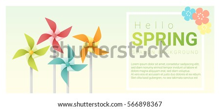 Hello spring background with colorful pinwheels , vector , illustration Foto stock ©
