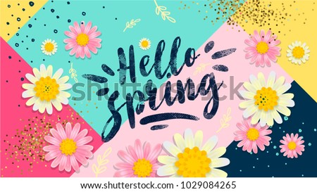 Hello spring banner. Trendy texture. Season vocation, weekend, holiday logo. Spring Time Wallpaper. Happy spring Day. Spring vector Lettering text. Fashionable styling. Flower vector.