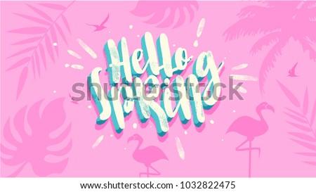 hello spring banner trendy