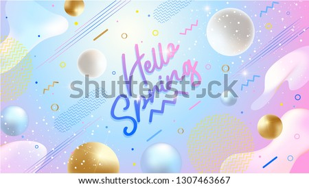 Hello Spring banner. Trendy textured. Season vocation, weekend, holiday logo. Spring Time Wallpaper. Happy spring Day. Hello Spring vector. Lettering text. Fashionable modern color styling template.