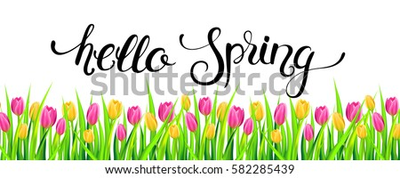 hello spring banner with