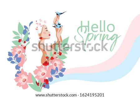 hello spring beautiful girl