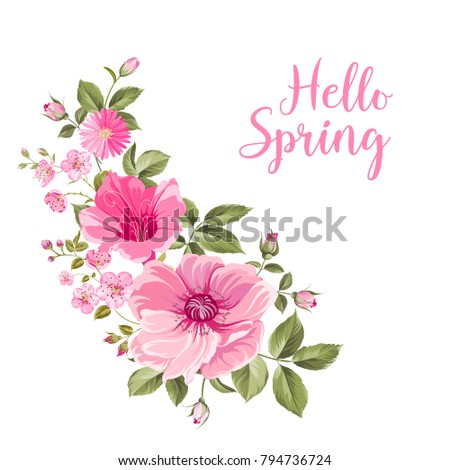 hello spring card with purple