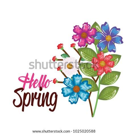 hello spring decorative design #1025020588
