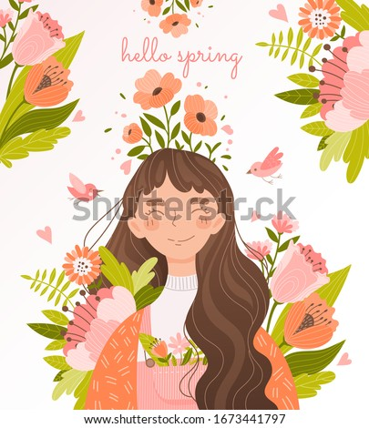 hello spring floral card design