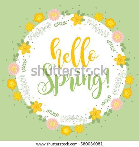 hello spring floral frame for